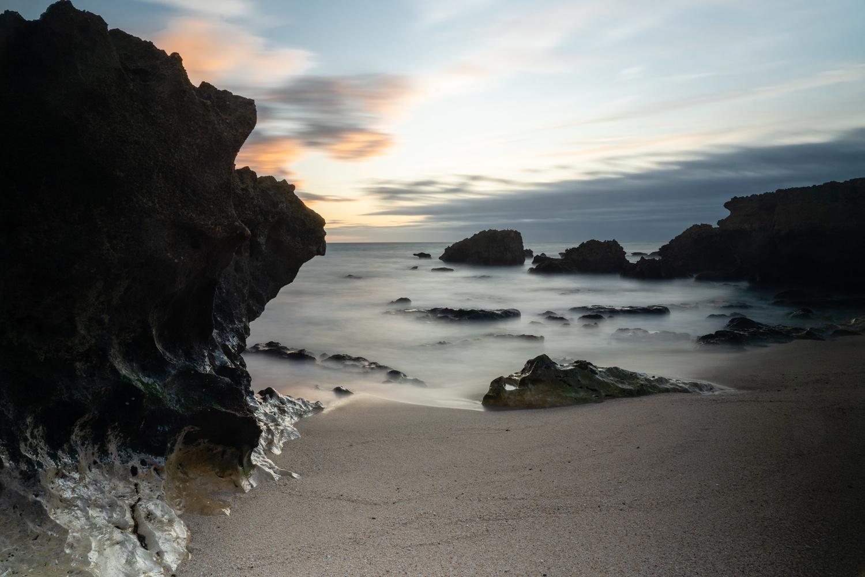 Evaristo beach at sunset by Nicolau Pais