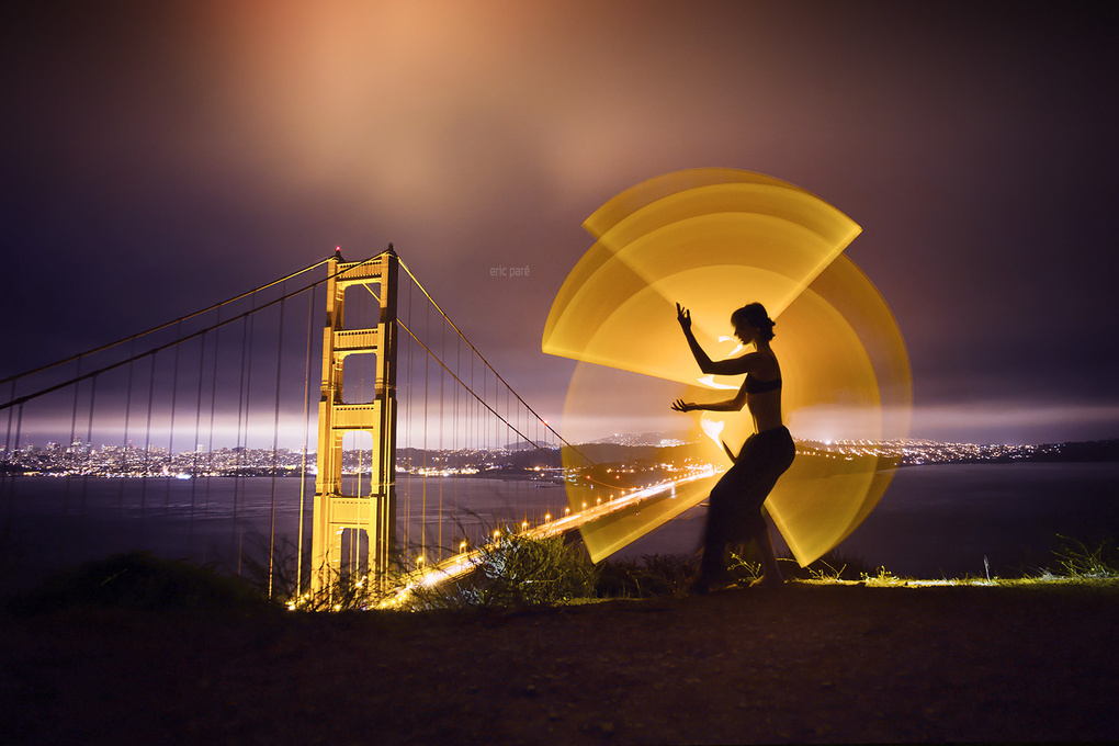 Light-painting at the Golden Gate Bridge by Eric Pare