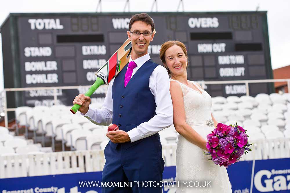 Taunton cricket ground wedding photos by Ross Alexander