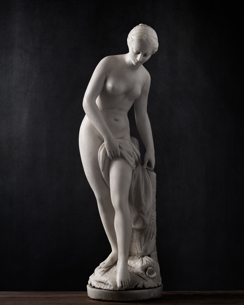 Bathing Woman Sculpture in Marble (C17th) by Stefano Barcella