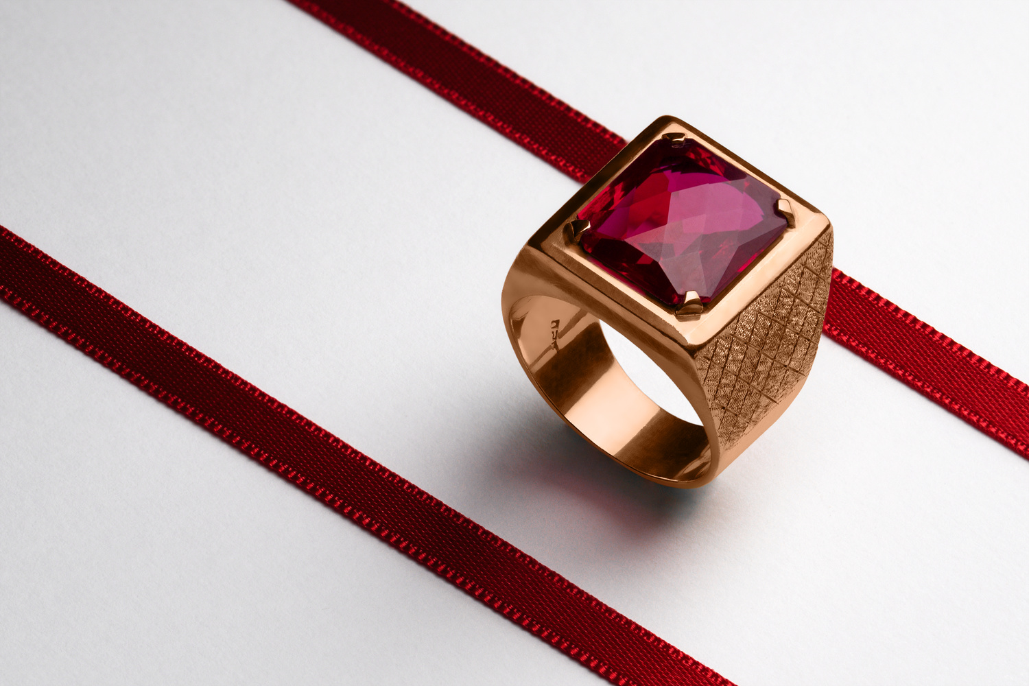 Vintage Rose Gold Ruby Ring by Stefano Barcella