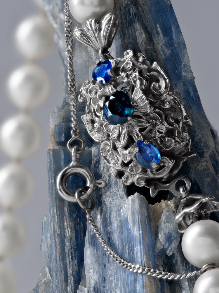 Pearl Necklace with Silver Brooch and Sapphires by Stefano Barcella