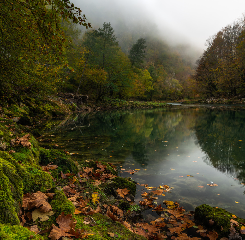 Autumn in the misty canyon of river Una by Ammar Selmanović