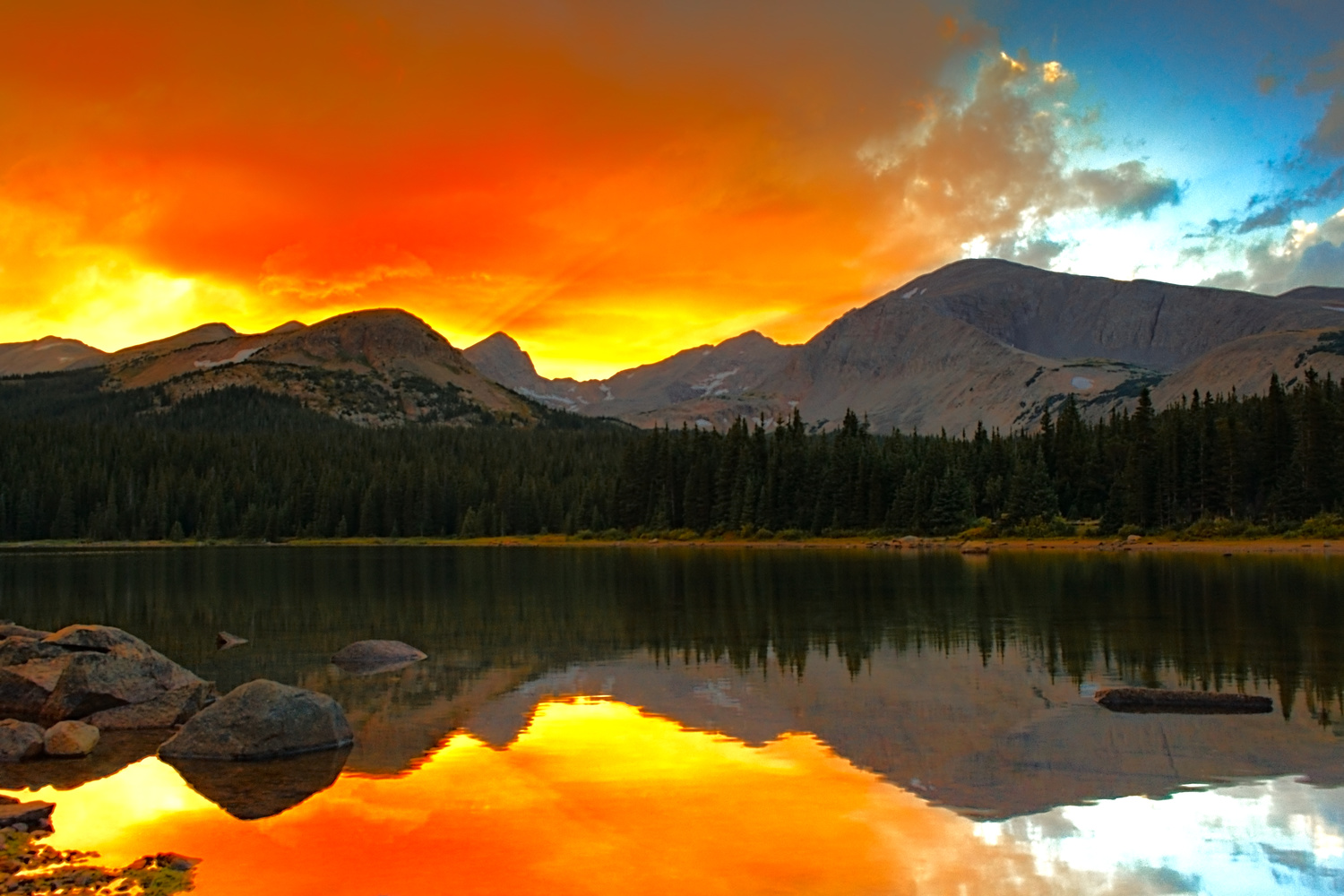 Red Sunset at Brainard Lake by Tong Thao