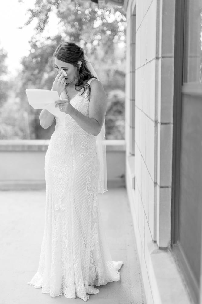 Bride Crying Reading Letter From Groom by Katie Dixon