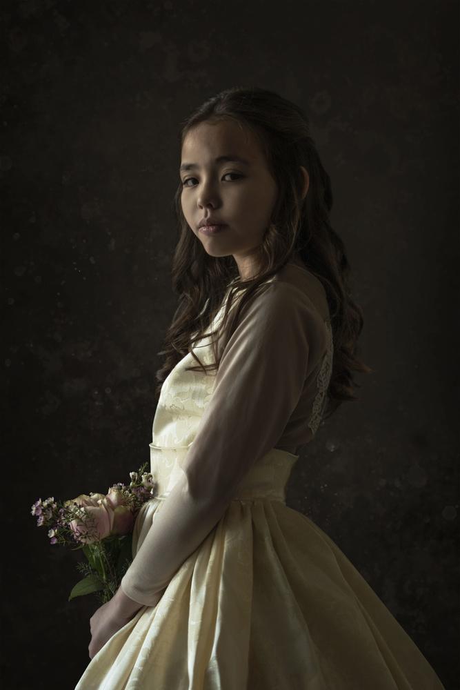 Portrait of a flower girl by Danielle Li