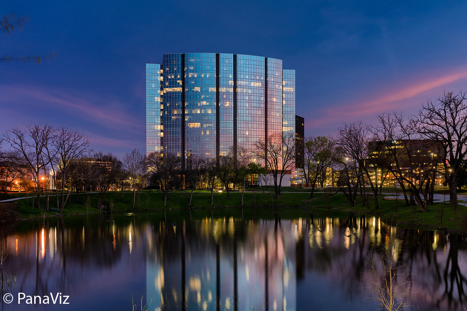 Building Reflection at Twilight by Dave Tonnes