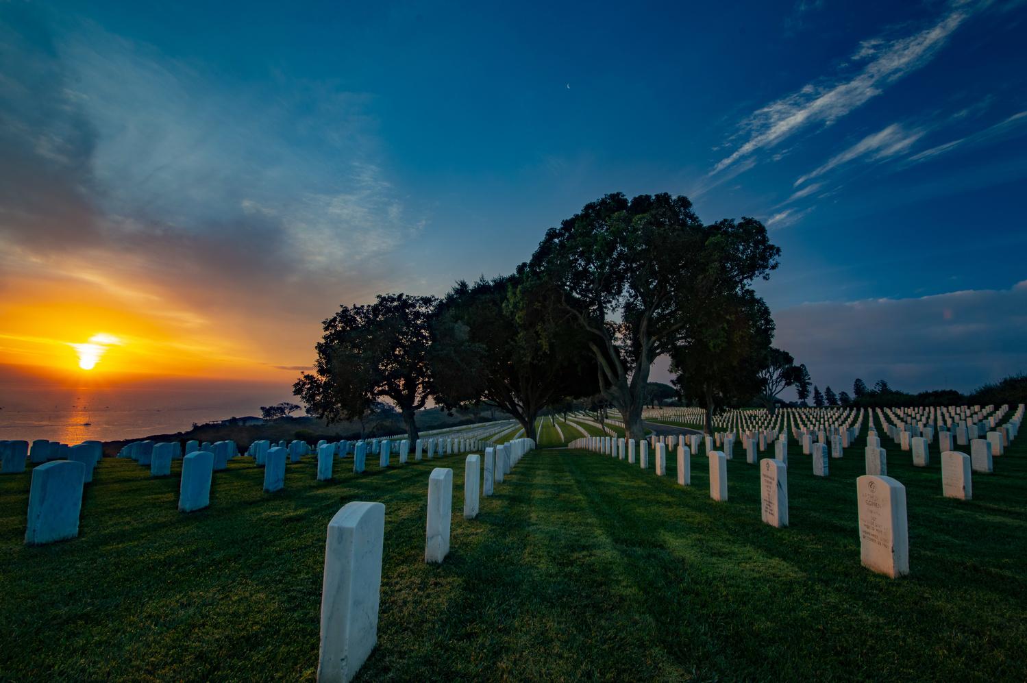 Sunrise at Fort Rosecrans National Cemetery, San Deigo, California by Ryan Fulkerson