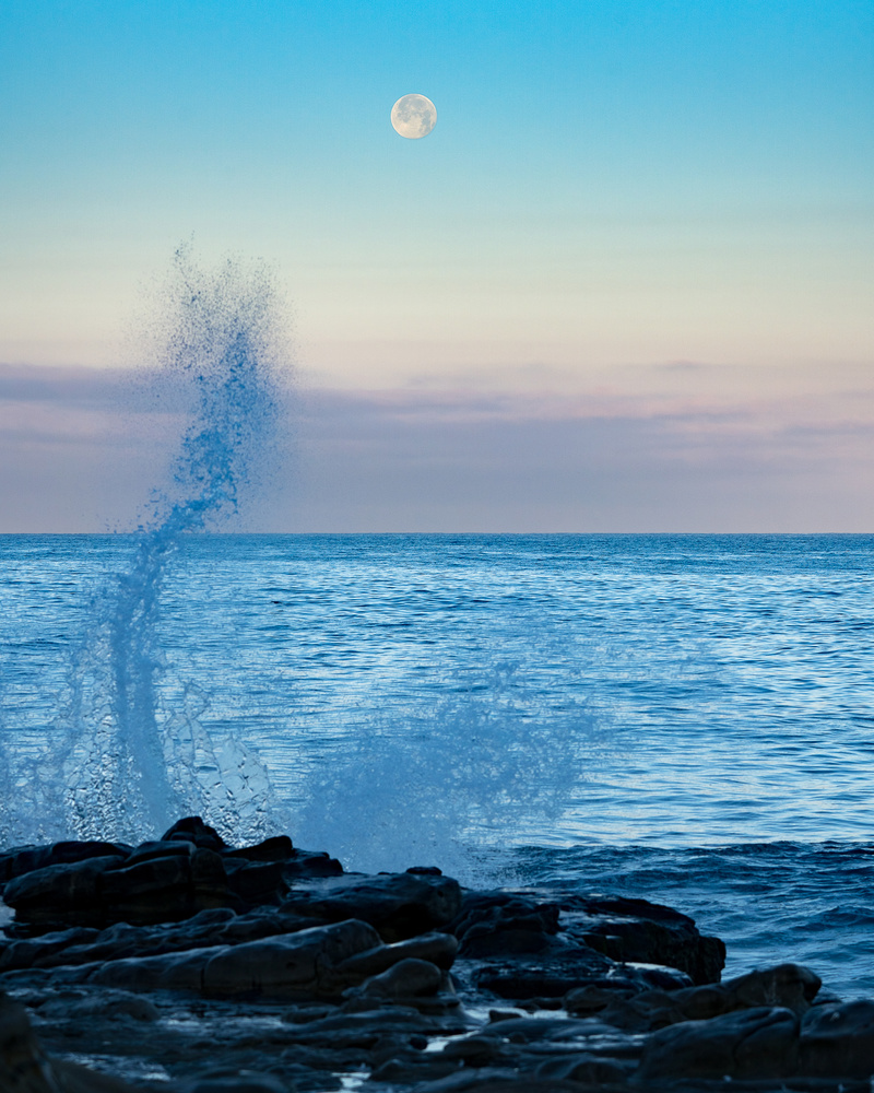 Moonset at La Jolla Cove, San Diego California by Ryan Fulkerson