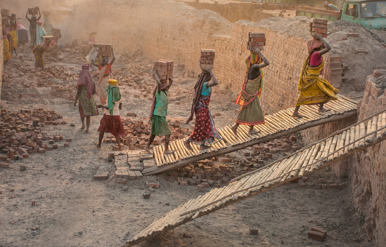 Brick-Kiln-Workers by Chanchal Bose