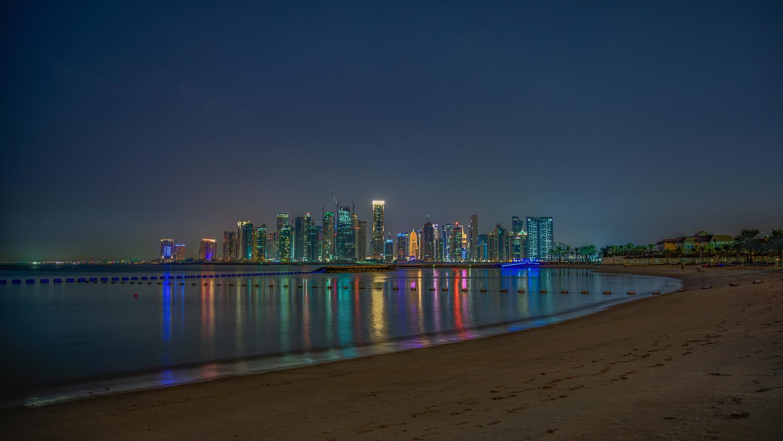 Doha at night by Yaz Loukhal