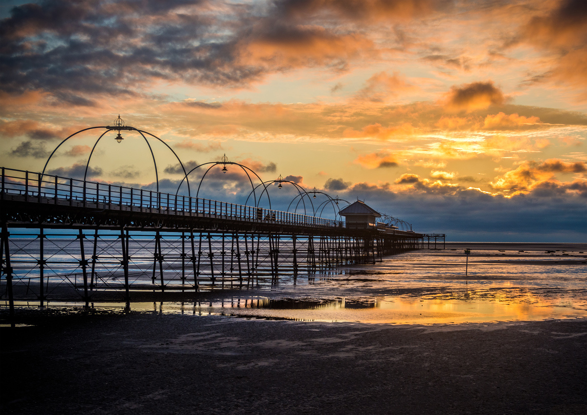 Sunset at Southport Pier by Peter Jarvis