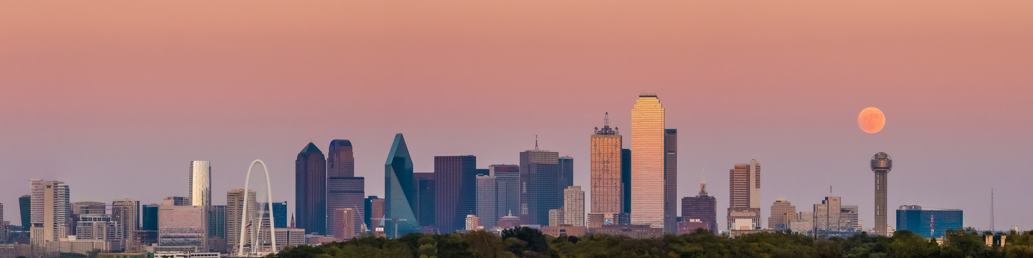 Supermoon over Dallas Skyline in 2016 by Scott Booth