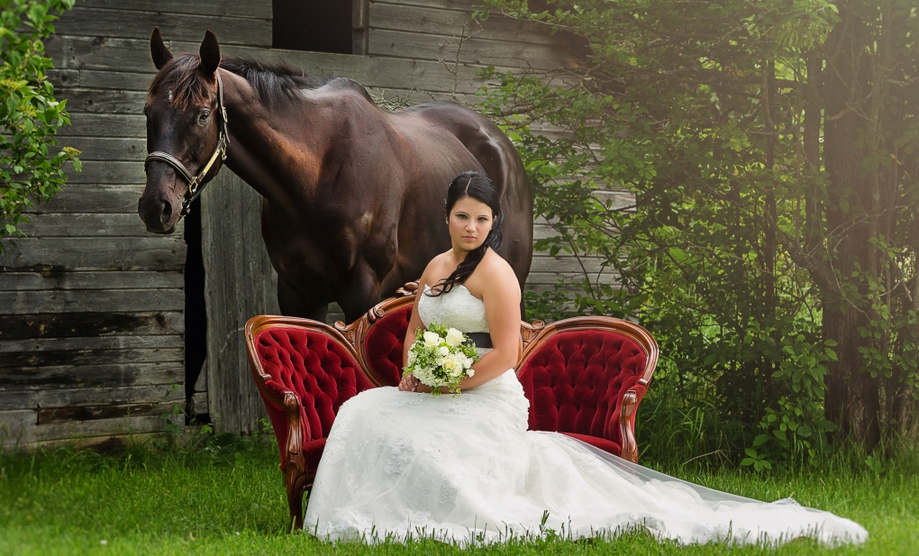 Bride and her horse by Troy St. Louis