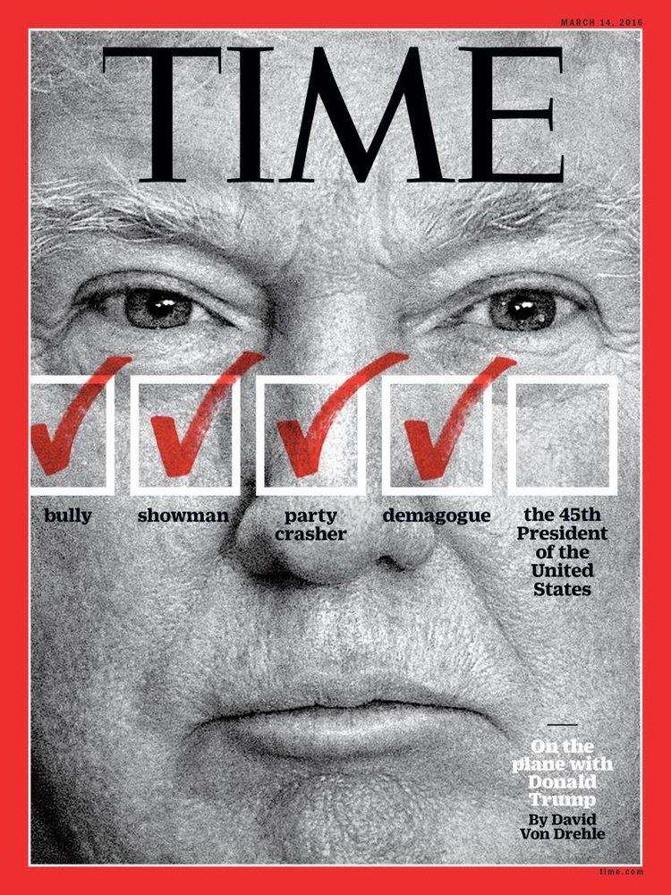 Portrait of President Donald Trump for the cover of TIME Magazine by Noam Galai