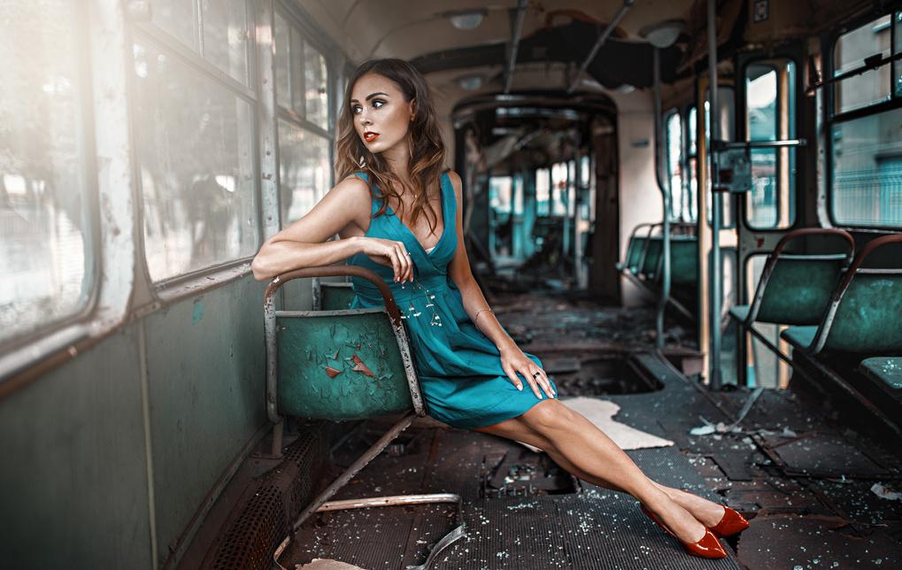 Waiting for a nex tram by Damian Piórko