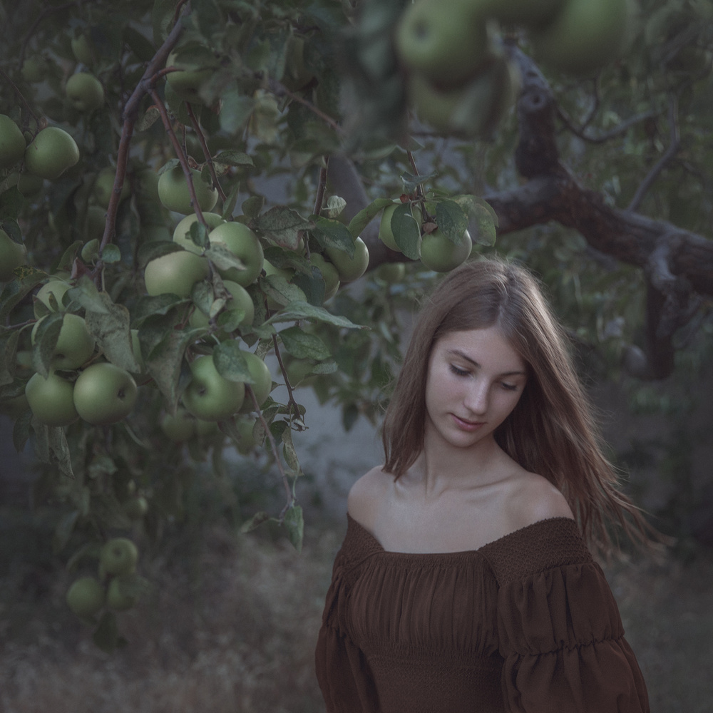 A girl with apples by Teodora Dimitrova