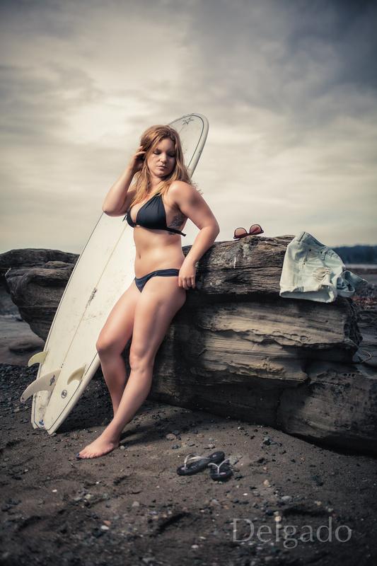 Stormy Surfer Girl Jessica by Dave Nunez-Delgado