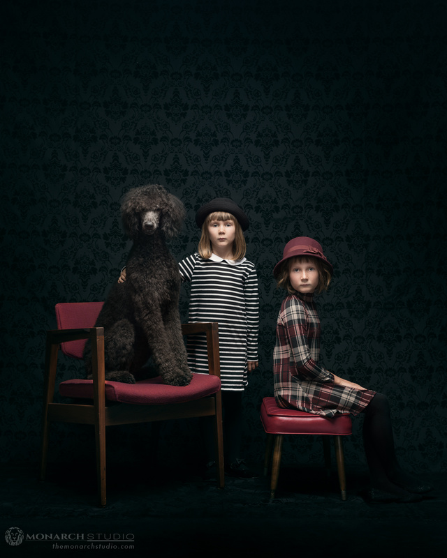 Sisters with Dog by David Walters