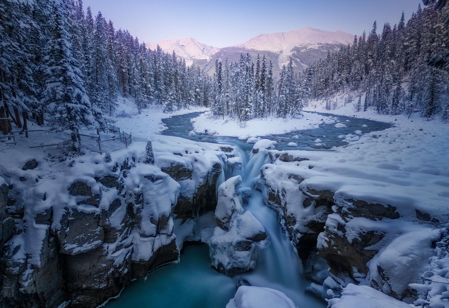 Winter Sunwapta Falls by Toni Pou