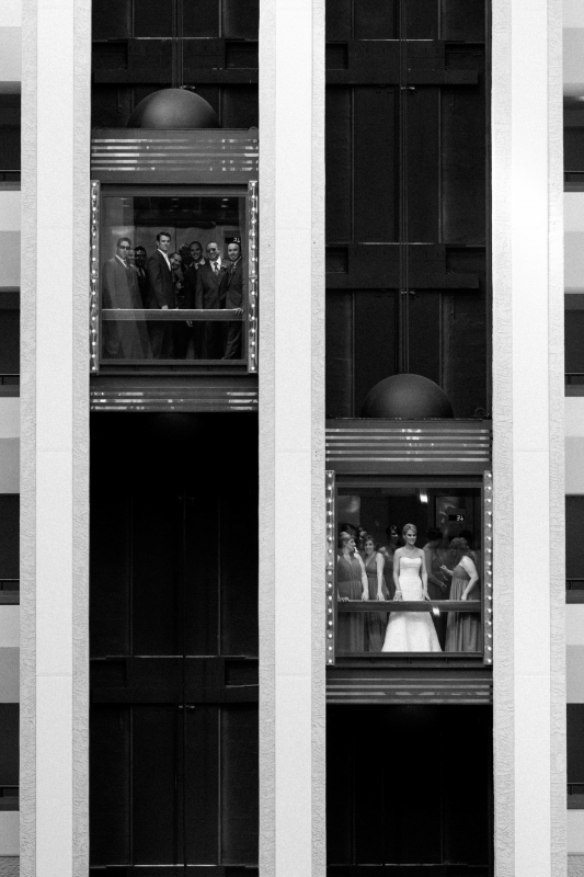 Bridal Party in Elevators by Trevor Dayley
