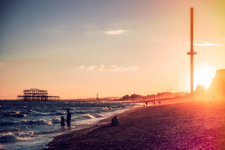 Brighton Beach at Sunset by Oszkar Csaba Gyorfi
