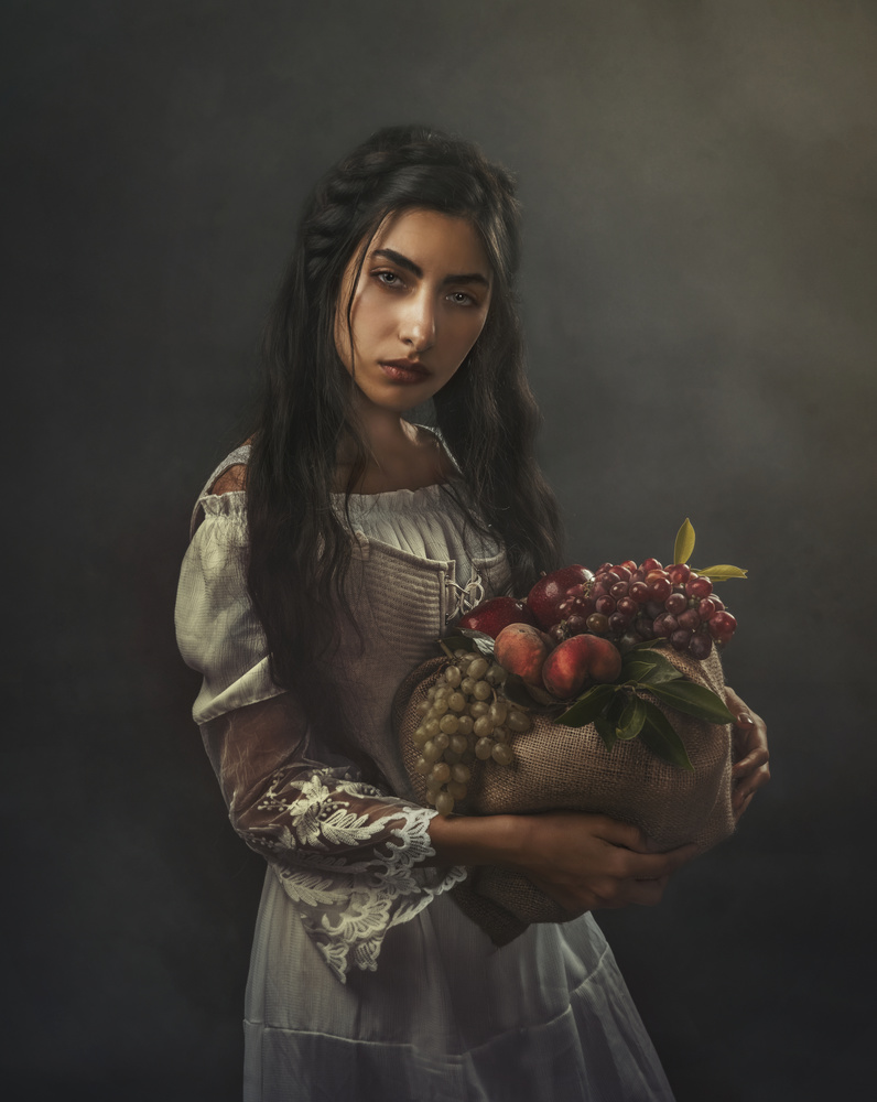Girl with Basket of Fruit by Farida Farhat