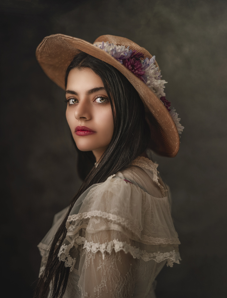 A girl with a flower Hat by Farida Farhat