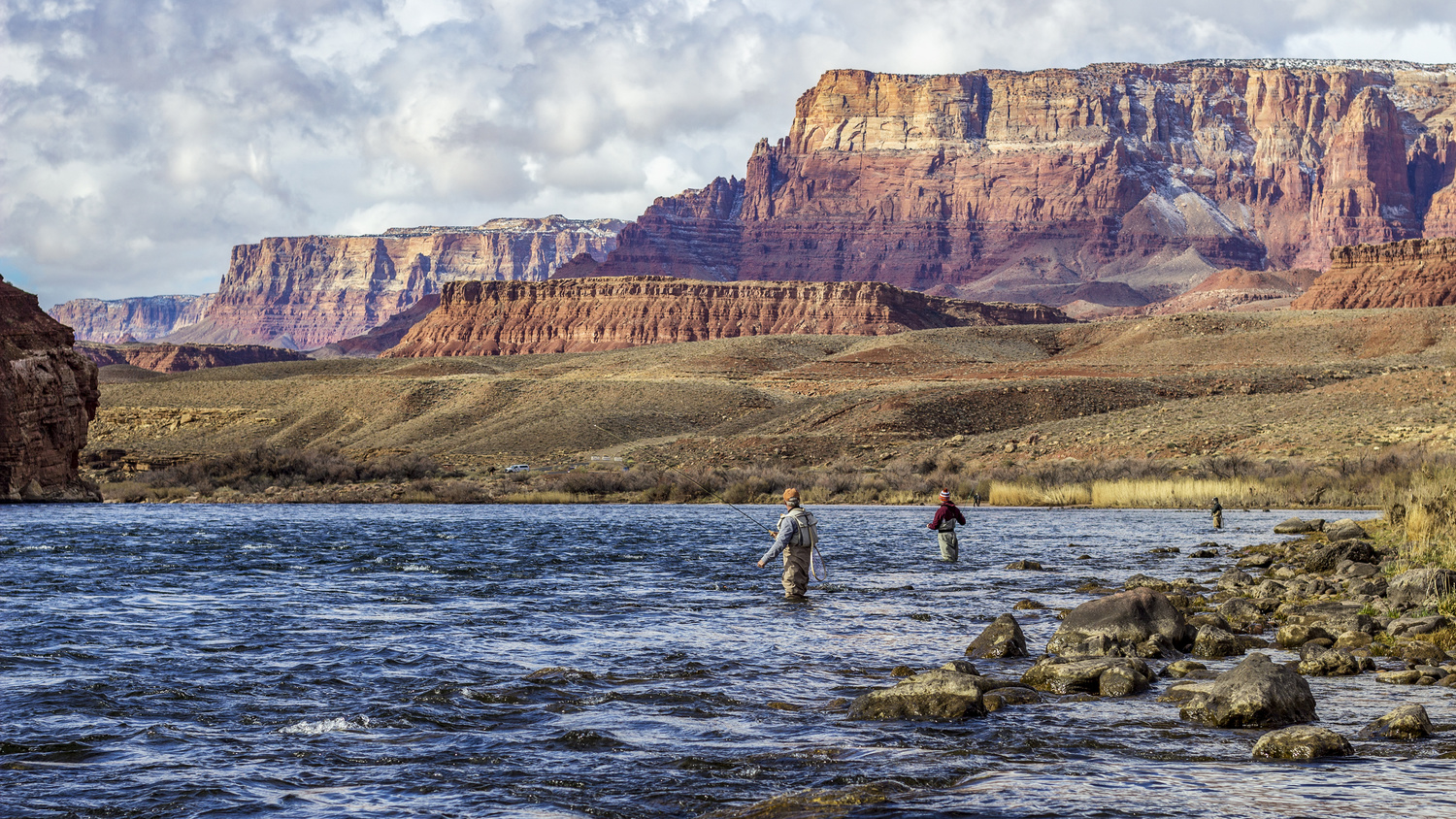 Fly Fishers On The Colorado River In The Southwest by Ray Redstone