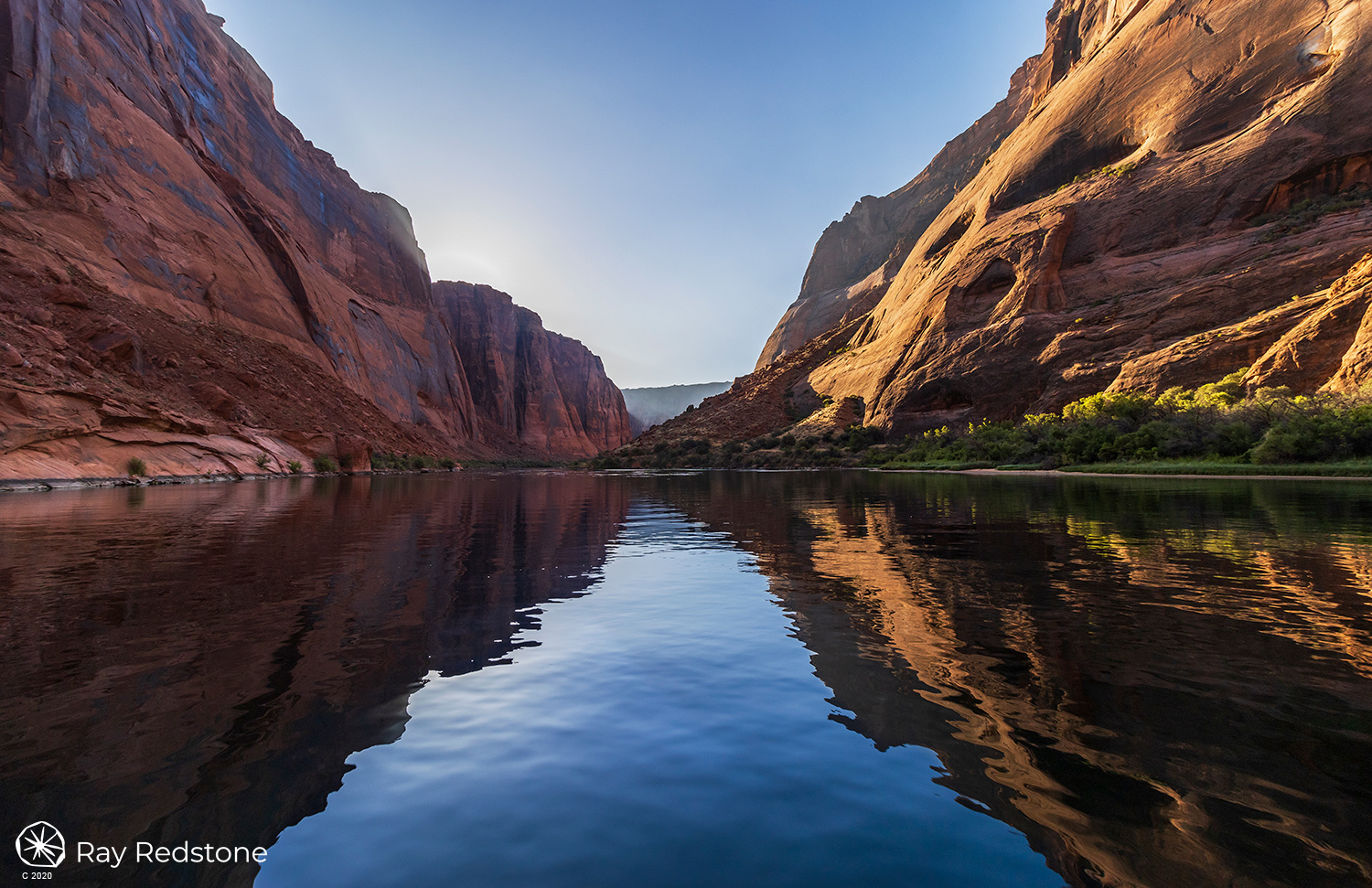 Canyon Wall Reflection on Colorado River by Ray Redstone