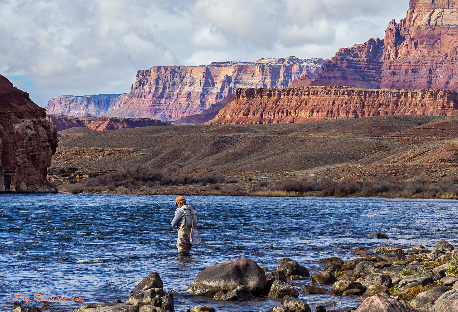 Lone Fly Fisherman On Colorado River At Lees Ferry, AZ by Ray Redstone