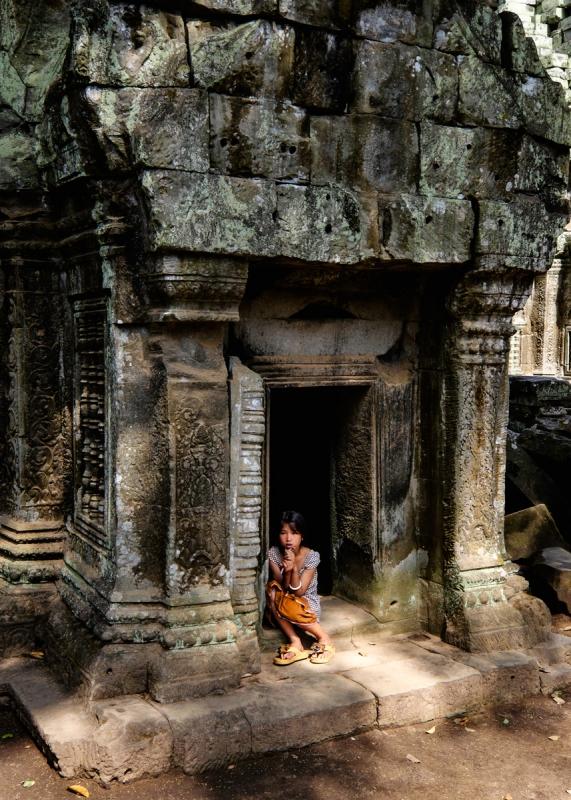 Young Girl at Angkor by Chris Knight