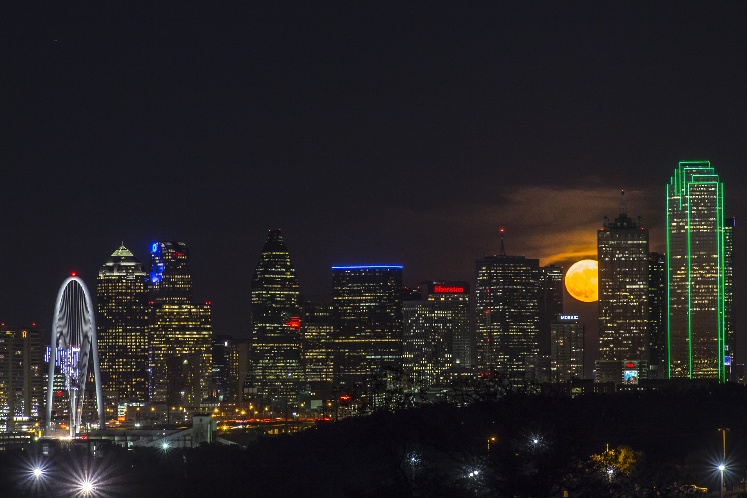 Dallas skyline and the Supermoon by Nick Blackhall