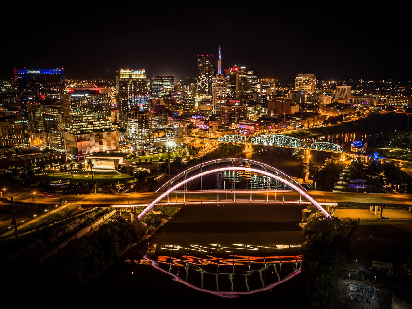 Nashville: Korean Veterans Blvd Bridge at Night by Andrew Keithly