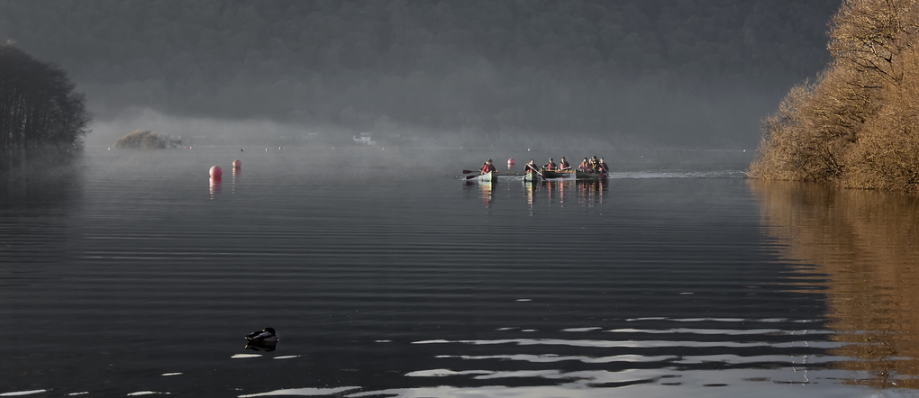 Misty Morning Canoes by andy hughes