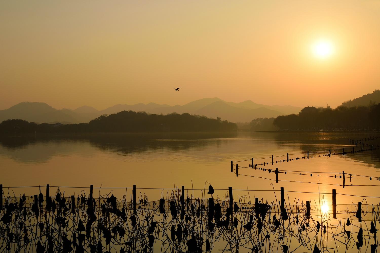 Sunset at West Lake Hangzhou China by Serge Tanas