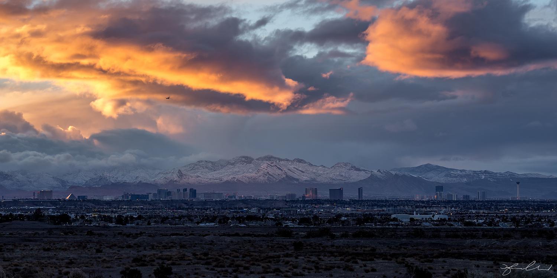 Snow Day Las Vegas Skyline by Fraser Almeida