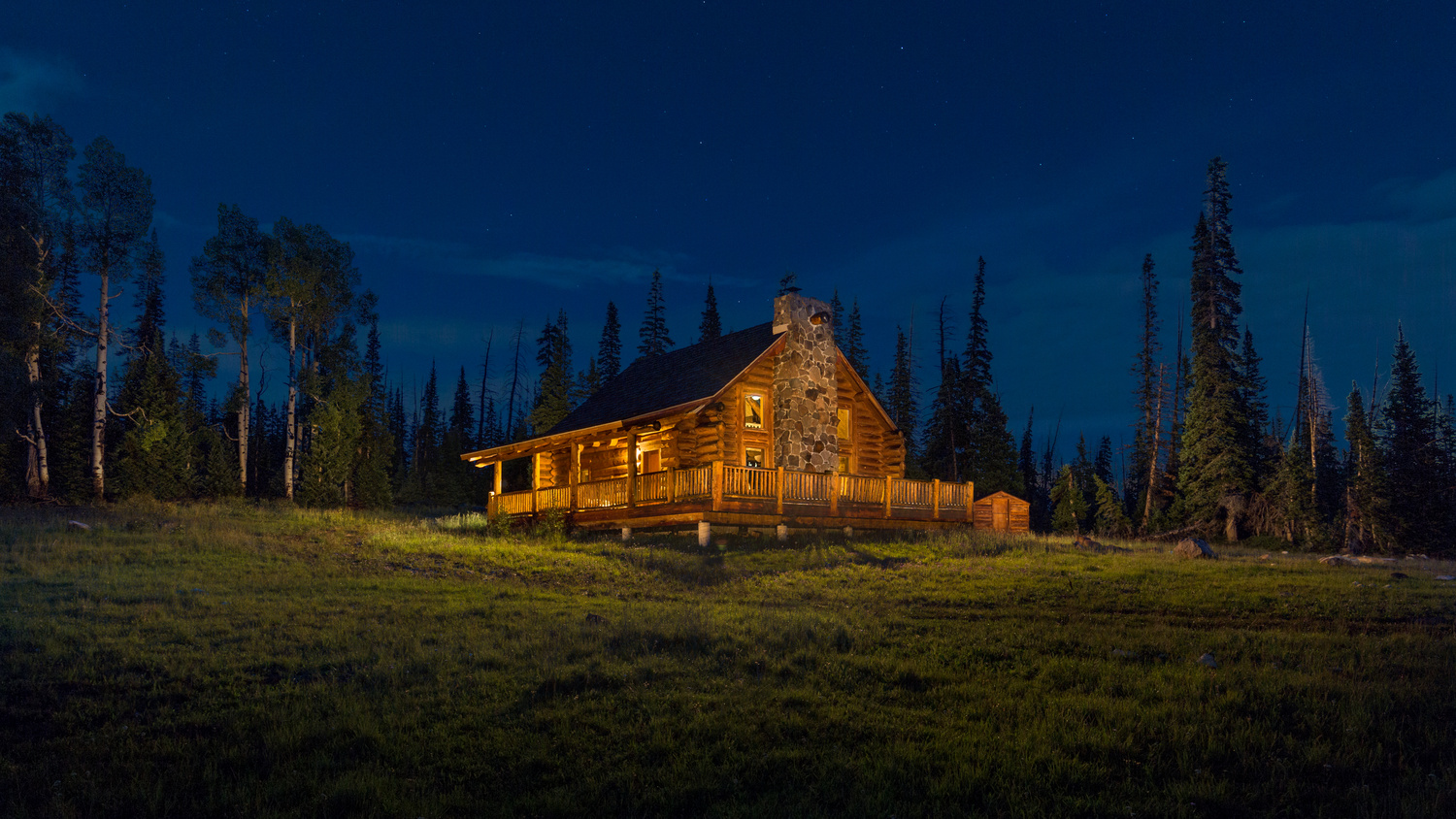 Log Cabin Twilight - Brian Head, Utah by Fraser Almeida