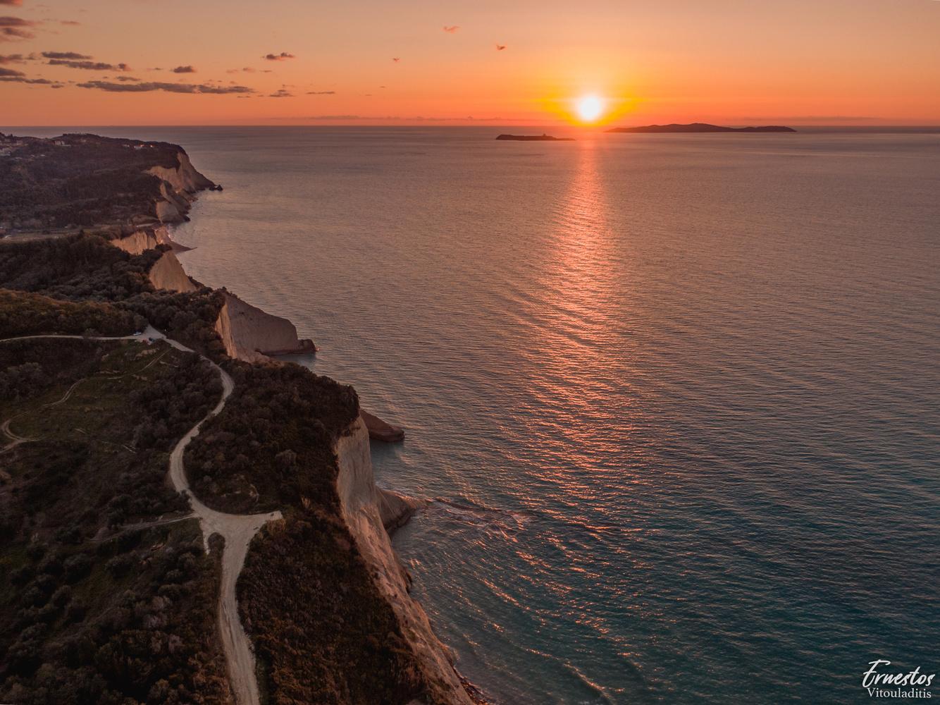cape drastis sunset corfu by ernestos vitouladitis