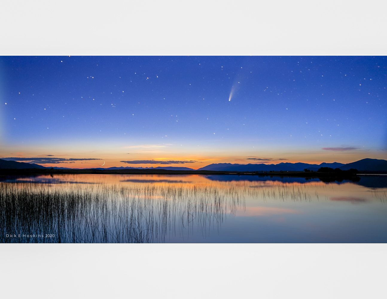 Comet Neowise and Moonset in Montana by Dick Hoskins