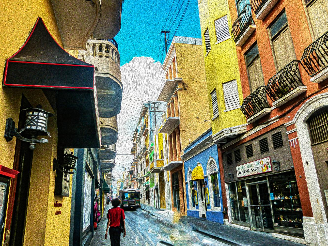 Shopping street of San Juan by Rohit Burra