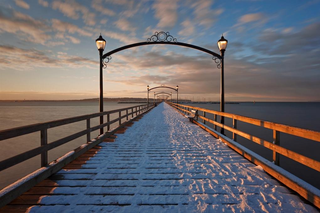 Whiterock Pier in Snow by Paul Langereis