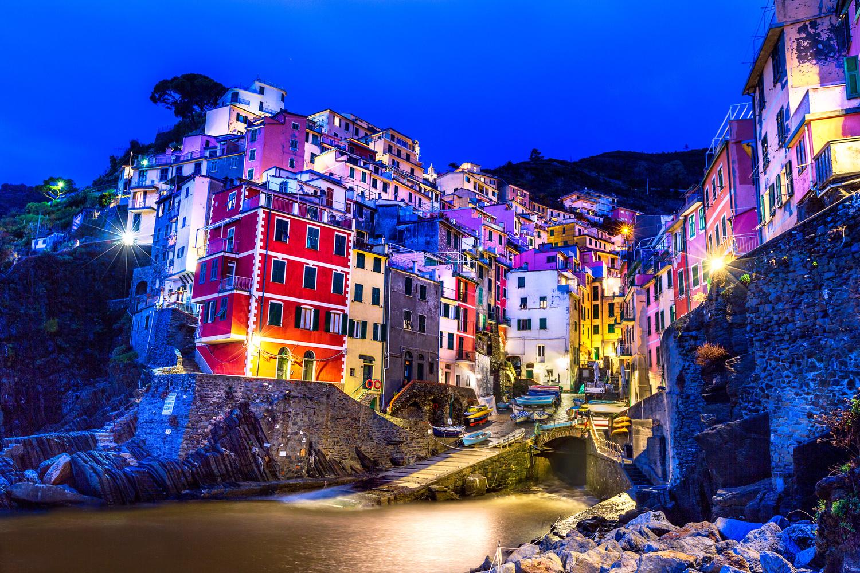 Riomaggiore Night Lights by Derek Brawdy