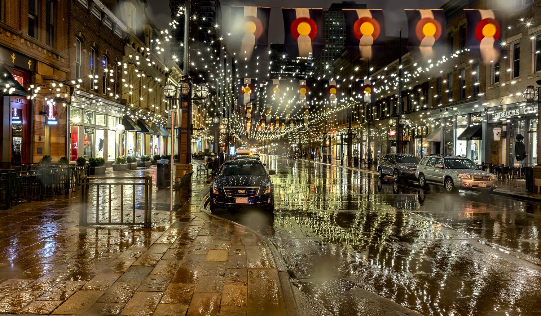 Larimer Lights in the Rain by Derek Brawdy
