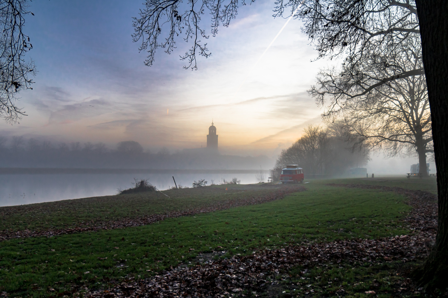 The Deventer church tower in the mist by Jaimy Leemburg