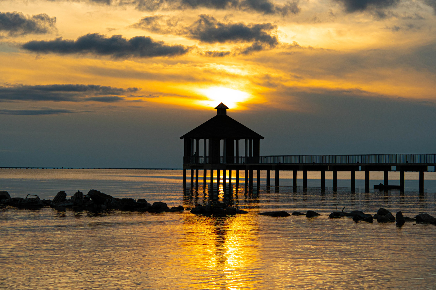 Fontainebleau State Park Pier at Sunset by Joey Hamner