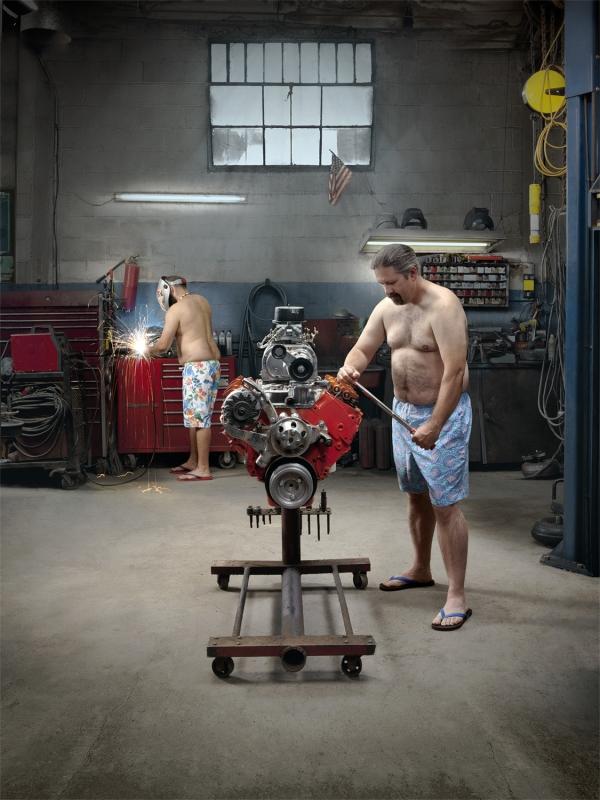 Speedo-clad Mechanics 2 by John Fulton