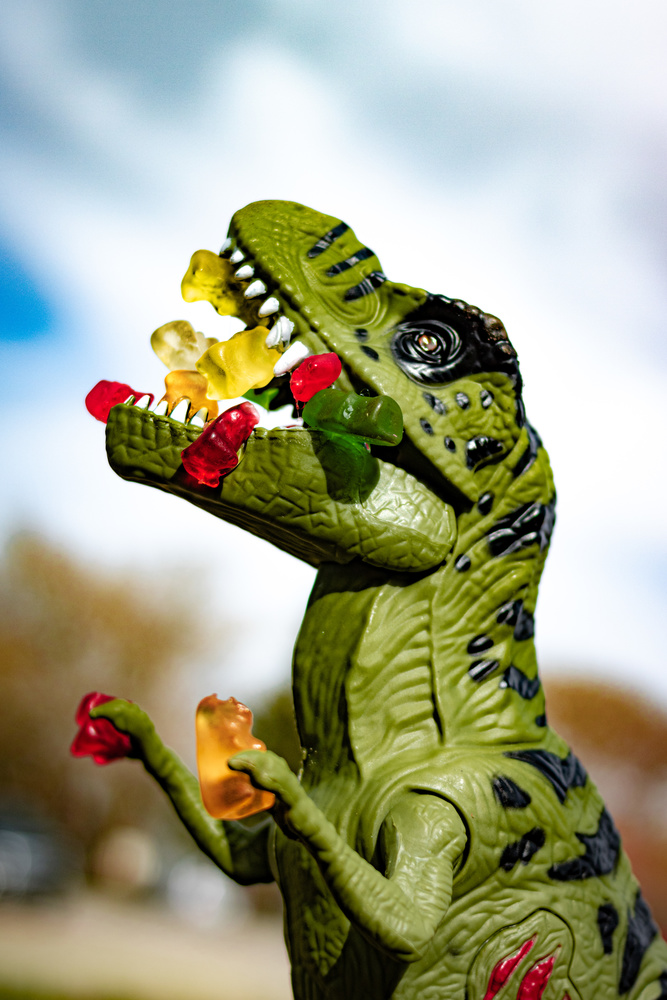 Why gummie bears are so afraid of dinosaurs by David Birozy