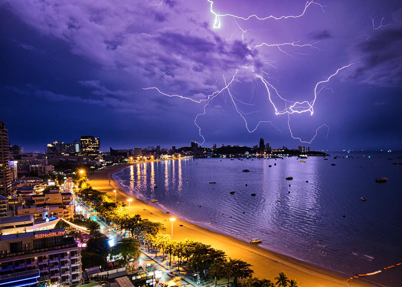 Pattaya Thunder Storm by Nikki Machell