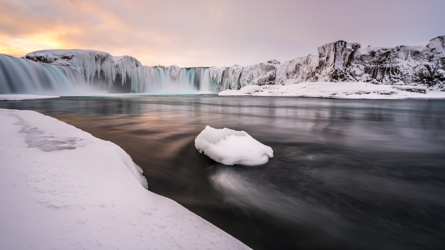 Goðafoss waterfall in wintertime by Einar Gudmann